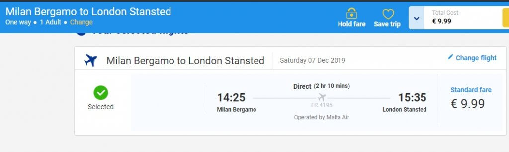 Screensot Bergamo London ticket