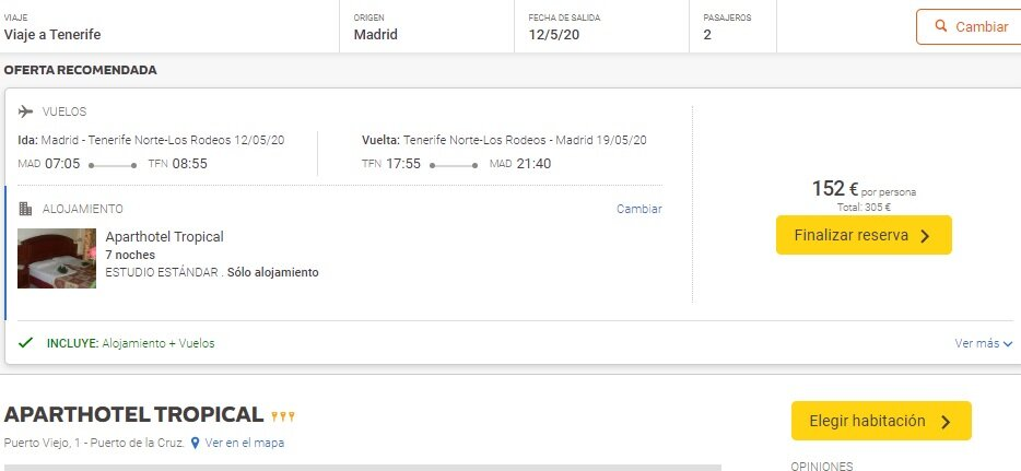 Screenshot flight ticket Madrid - Tenerife North  and  Aparthotel Tropical 3* (7 Nights)