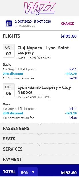 Screenshot flight ticket Cluj – Lyon – Cluj
