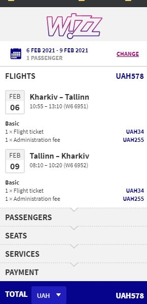 Screenshot flight ticket  Kharkiv – Tallinn – Kharkiv