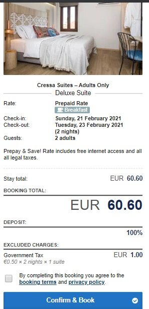 Screnshot Hotel Cressa Suites Adults Only 4* (2 nights) price