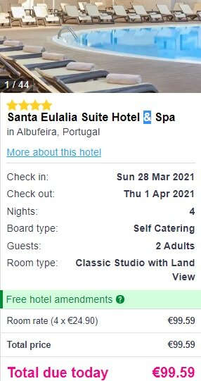 Screenshot Santa Eulalia Suite Hotel & Spa 4* (4 Nights) price