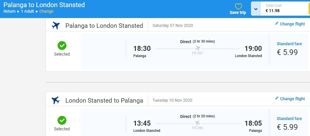 Screenshot4 flight ticket Palanga – London – Palanga