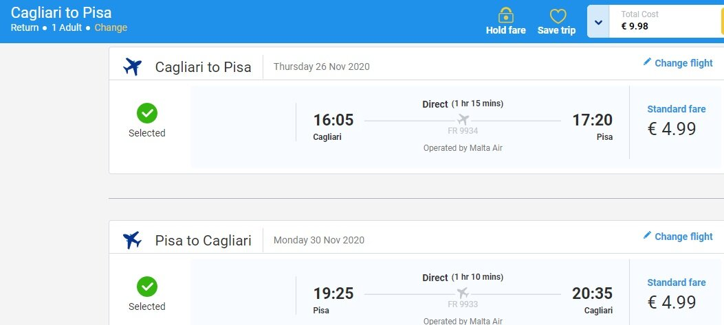 Screenshot flight ticket Cagliari-Pisa, Bari-Pisa and Naples-´Genoa